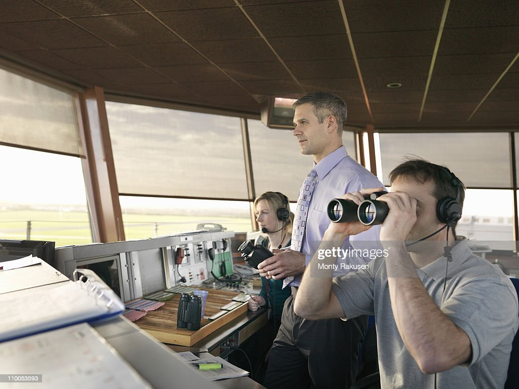 Air traffic controllers in tower