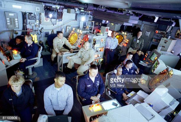 Air Traffic Controllers Monitor Aircraft Launched From The USS Theodore Roosevelt During Strike Operations June 7 1999 Theodore Roosevelt And Its...