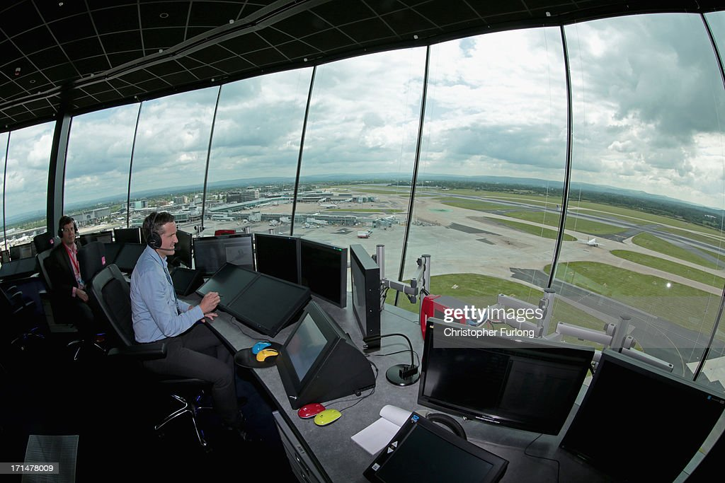 Air traffic controllers Steve Bowden and Pete Robinson test the new systems inside Manchester Airports new air traffic control tower on June 25 2013...