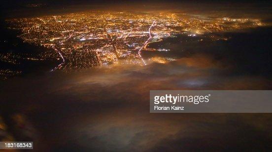 Air Travel - City Lights Below