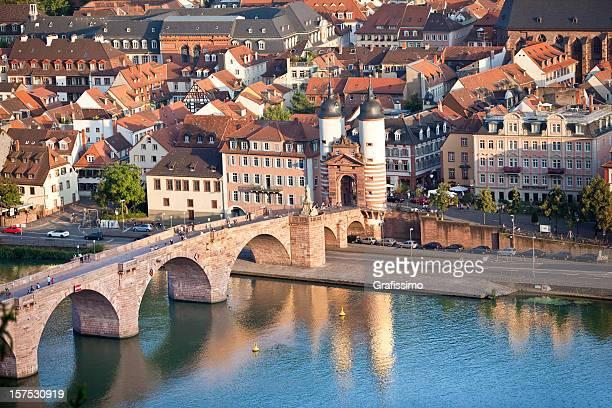 Air Blick auf alte Brücke in Heidelberg, Deutschland
