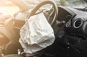 Airbag exploded at a car accident,Car Crash air bag,Airbag work with illuminated