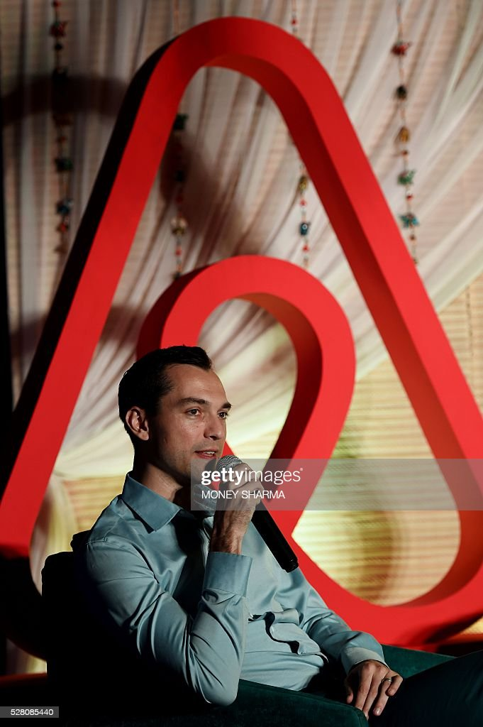 Airbnb co-founder Nathan Blecharczyk speaks during a press conference in New Delhi on May 4, 2016. Airbnb, a community-driven hospitality company, announced travel on the platform in India had nearly tripled in the last year, positioning it as one of the fastest growing markets in the world. / AFP / MONEY