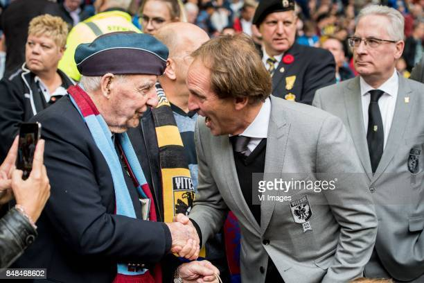 airborne veteran with Joost de Wit during the Dutch Eredivisie match between Vitesse Arnhem and VVV Venlo at Gelredome on September 17 2017 in Arnhem...