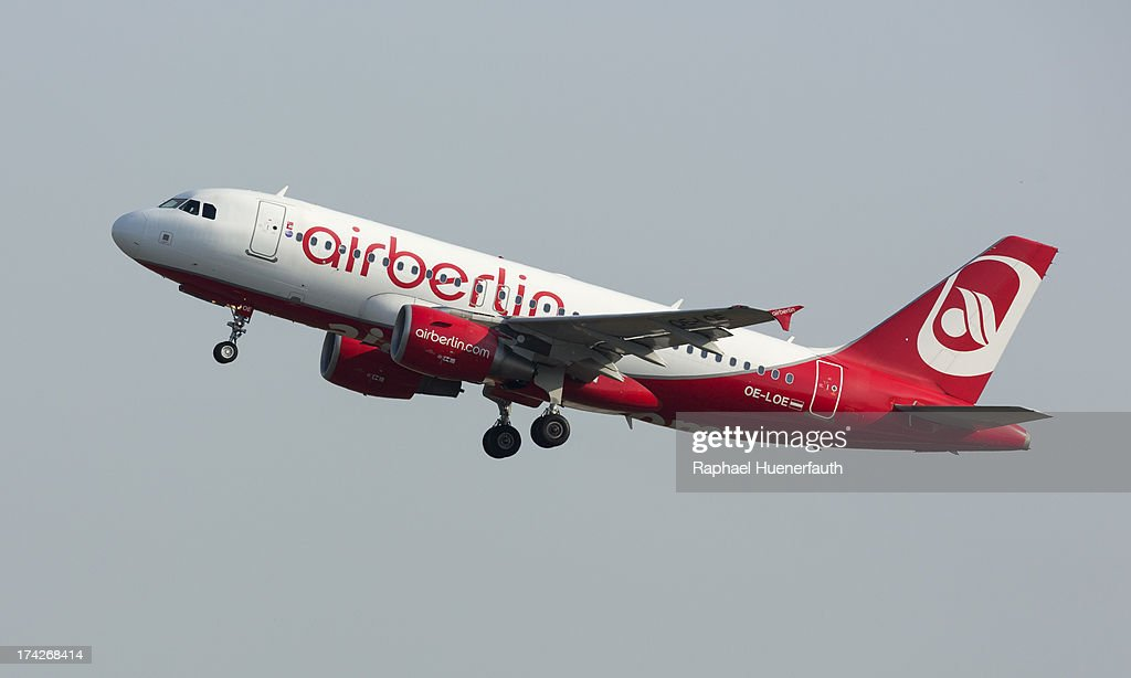 A Airbus A319 from the Airline -Air Berlin- takes off on June 18, 2013 in Berlin-Tegel, Germany.