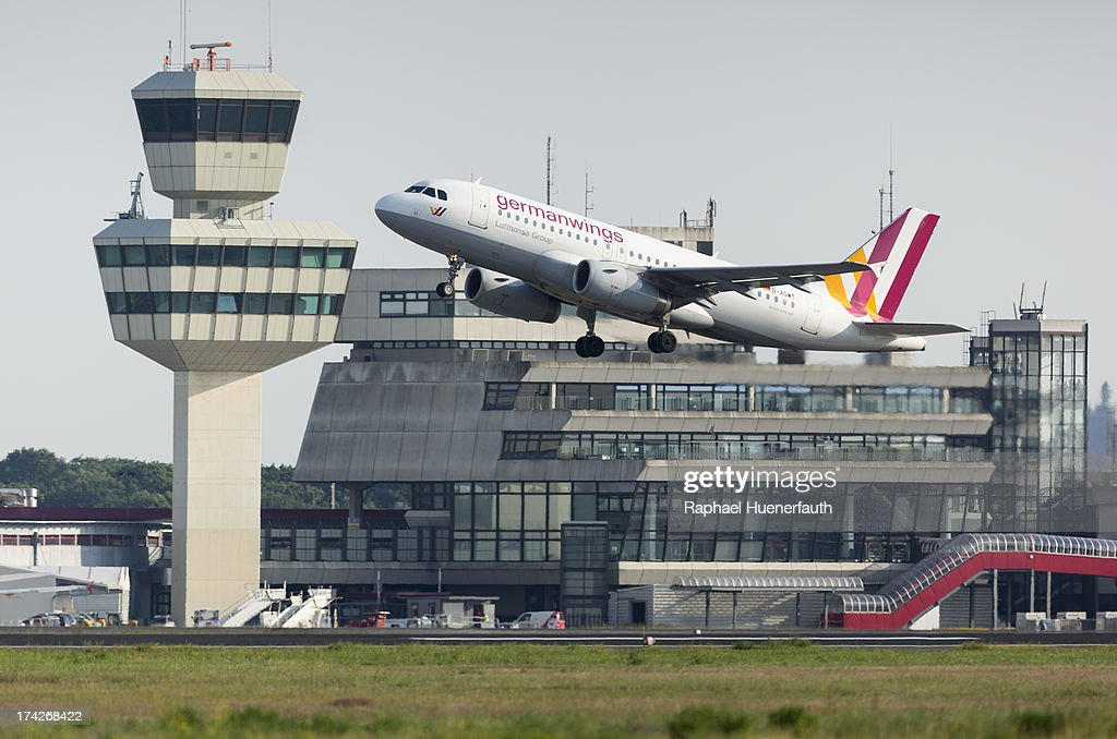 A Airbus A319 from the Airline -Germanwings- takes off at Airport Otto-Lilienthal on June 18, 2013 in Berlin-Tegel, Germany.
