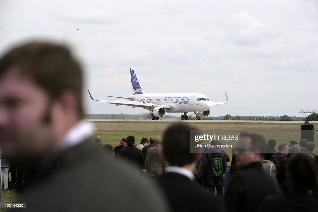 Airbus A320 on landing at the ILA Berlin Air Show on September 12, 2012 in Schoenefeld near Berlin, Germany. The 2012 international air fair runs from September 11 to 16, 2012.