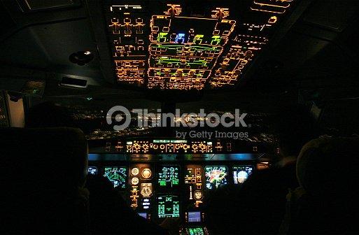 Airbus A330 Cockpit Night Landing Stock Photo | Thinkstock