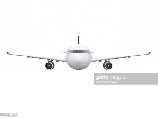 Airbus A330-300 Plane from the front on white
