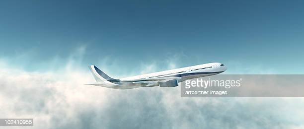 Airbus A330-300 Plane Take Off above the clouds
