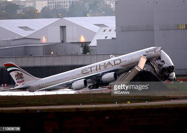 Airbus A340 Ground Collision In Toulouse France On November 17 2007 The 'Etihad Airways' A340 airbus aircraft in ground collision during engine...
