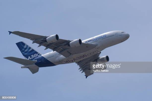 Airbus A380 takes part in a flying display over the Le Bourget Airport during the 52nd International Paris Air Show on June 22 in Paris France