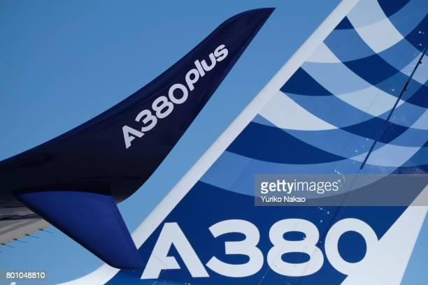 Airbus A380 with a so called 'split' wingtip for the proposed A380plus is displayed at the 2017 Paris Air Show at Le Bourget Airport on June 19 in...