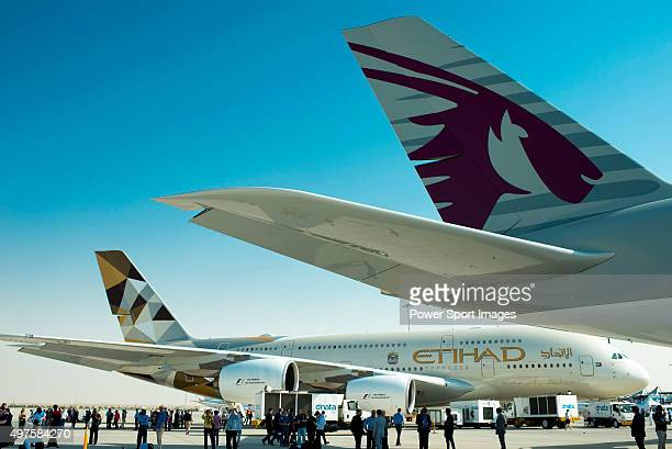 Airbus A380800 manufactured by Airbus SAS and operated by Qatar Airways and Etihad Airways is displayed during the 2015 Dubai Airshow on November 9...