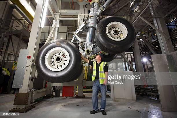 Airbus aircraft landing gear is tested at the Airbus aircraft manufacturer's Filton site on November 19 2015 in Bristol England The site at Filton's...