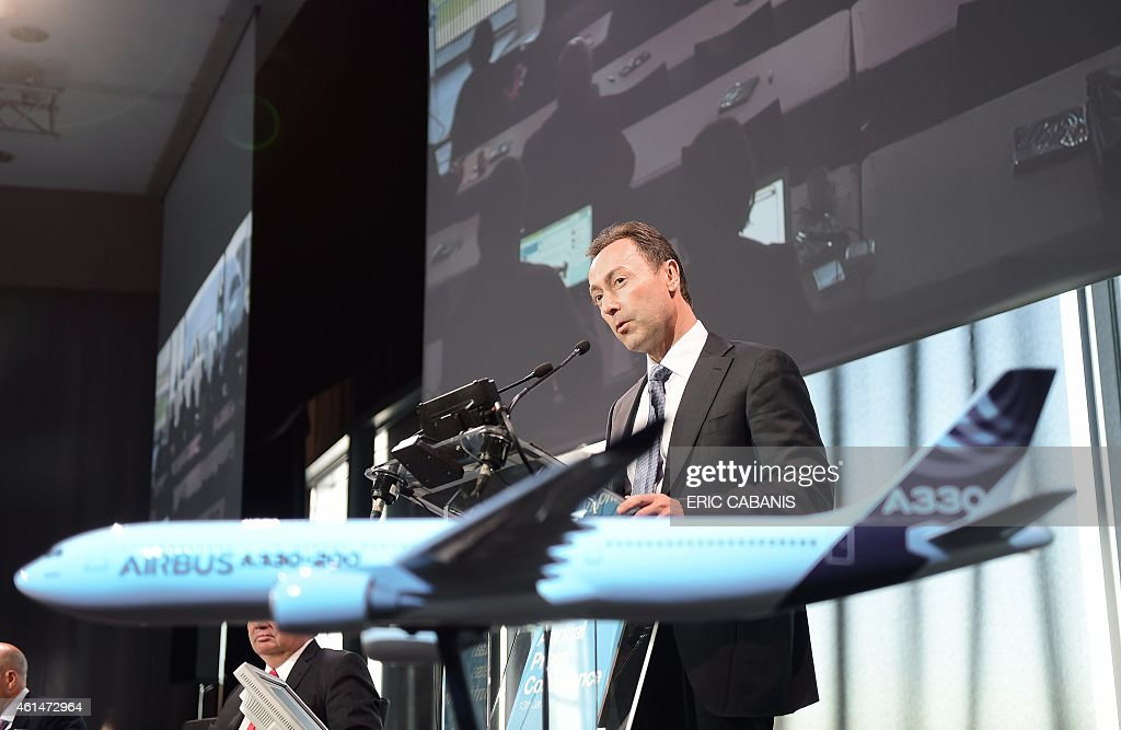 Airbus CEO Fabrice Bregier delivers a speech during the annual press conference of the group on January 13, 2015 at the company headquarters in Colomiers, near Toulouse, southern France. The European aerospace company said in a statement that the results 'exceeded its targets for 2014' and that at the end of last year it 'commanded more than 50 percent market share for aircraft above 100 seats'. Airbus said its second-best year ever for new orders propelled it to an industry record backlog of 6,386 aircraft valued at $919.3 billion (777 billion euros) at list prices.