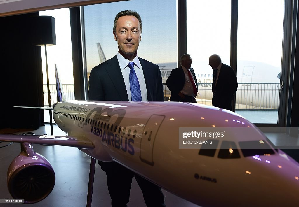 Airbus CEO <a gi-track='captionPersonalityLinkClicked' href=/galleries/search?phrase=Fabrice+Bregier&family=editorial&specificpeople=2129650 ng-click='$event.stopPropagation()'>Fabrice Bregier</a> poses after the annual press conference of the group on January 13, 2015 at the company headquarters in Colomiers, near Toulouse, southern France.