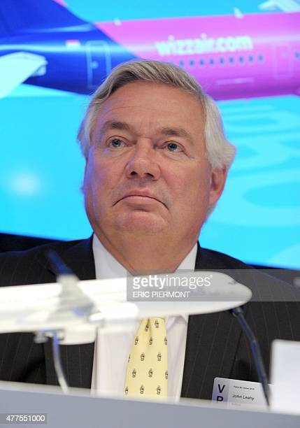 Airbus Chief Operating Officer Customers John Leahy listens during an Airbus press conference with Wizz Air at the International Paris Airshow at Le...