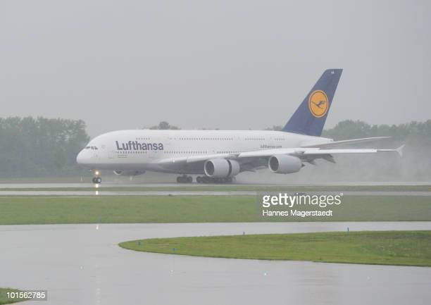 Airbus Lufthansa A380 lands at the Franz Josef Strauss airport on June 2 2010 in Munich Germany The airplane absolves test routes to Munich Vienna...