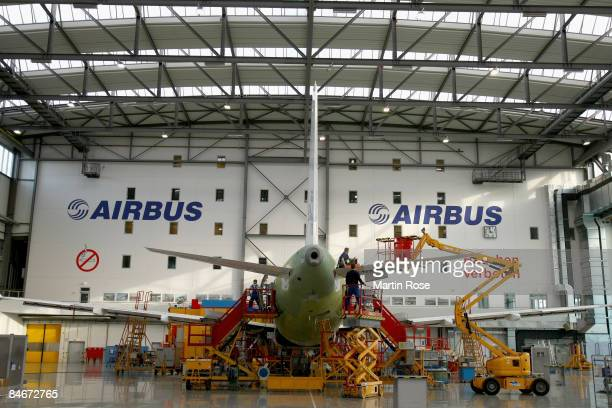 Airbus plane of the type A319 under construction at the Airbus factory on February 6 2009 in Hamburg Germany Airbus constructs the next generation of...