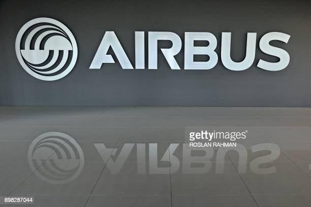 Airbus signage is seen at the lobby area of the Airbus Asia Training Centre in Singapore on June 20 2017 Airbus Asia Training Centre facility in...