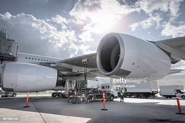 A380 aircraft being refuelled at airport