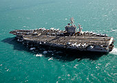 Aircraft carrier USS Dwight D. Eisenhower sails through the Meditteranean Sea.