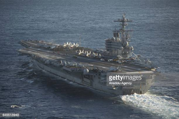 US aircraft carrier USS George Washington is seen during its mission in the eastern Mediterranean Sea on February 5 22017