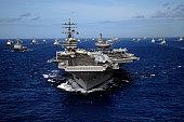 July 24, 2010 09/14/2009 The Nimitz09/14/2009class aircraft carrier USS Ronald Reagan (CVN09/14/200976) leads a mass formation of ships from Korea, Taiwan, Japan, Singapore, France, Canada, Australia