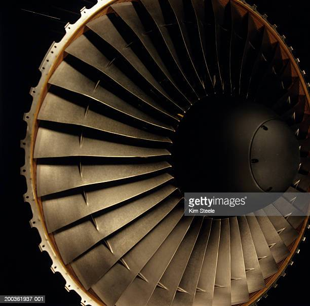 Aircraft engine manufacturing; jet engine turbine, close-up