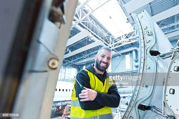 Aircraft engineer in a hangar