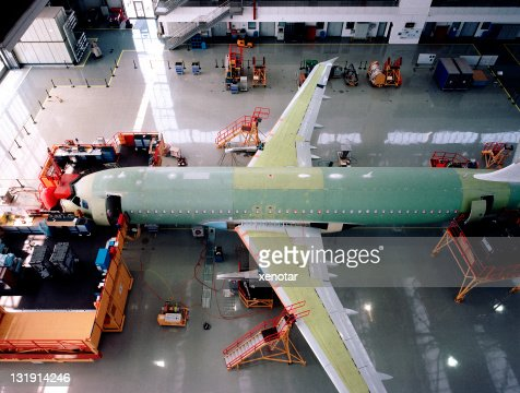 Aircraft factory assembly line