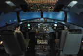 Inside the cockpit of A Flight Simulator,