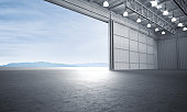 Aircraft hanger door open car stage 3D illustration