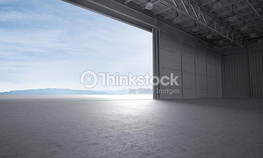 aircraft hanger door open car stage 3d illustration ストックフォト