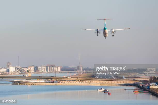 Aircraft landing at London City Airport, Royal Docks, London