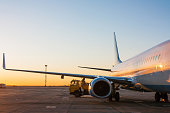 Aircraft maintenance in the morning airport apron