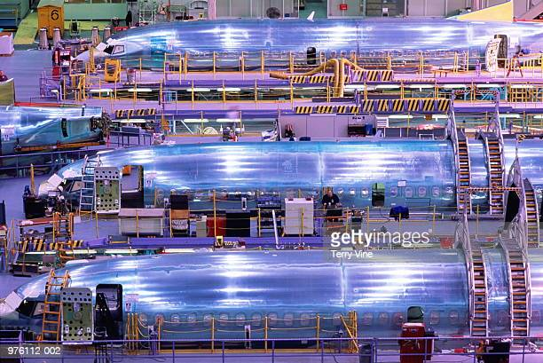 Aircraft production, passenger aircraft fuselages in factory