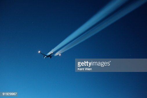 Aircraft with blurred contrails