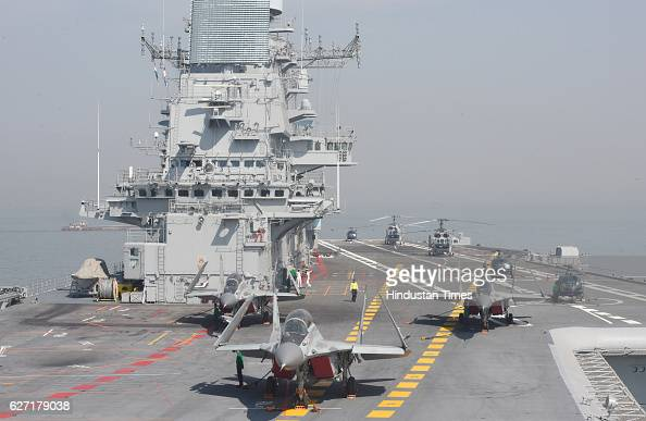 Aircrafts on the deck of INS Vikramaditya during Navy Week celebration at Gateway of India on December 2 2016 in Mumbai India Navy day in India is...