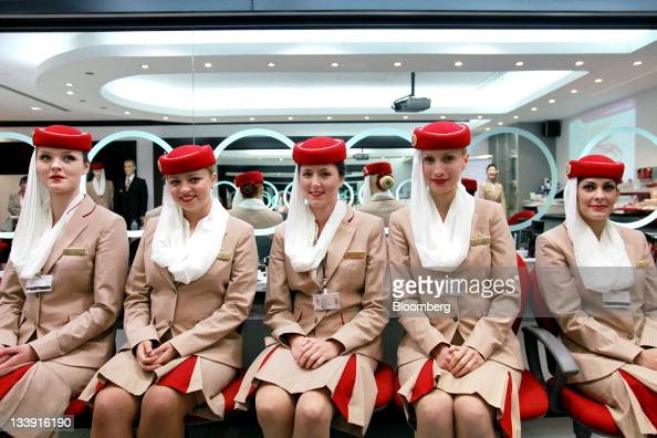 Aircrew students for Emirates Airline left to right Mateja Vladova Polina Sasko Dina Cerne Biljana Bosnjak and Solenne Roussei pose for a photograph...