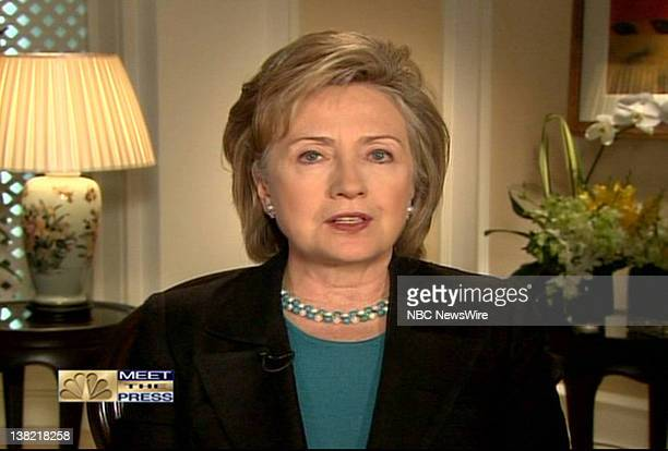 Hillary Clinton Secretary of State appears via satellite in this screen shot on 'Meet the Press' with moderator David Gregory in Washington DC Sunday...
