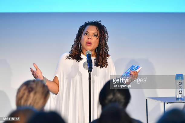 Airea D Matthews does a reading on stage during the Feminist as F*ck with Amber Tamblyn and Roxane Gay panel during the 2017 Vulture Festival at Milk...