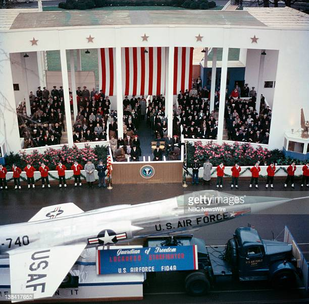 D EISENHOWER Aired Pictured President Dwight D Eisenhower Vice President Richard Nixon watching the inaugural parade on January 21 1957
