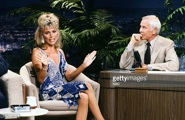 Wheel of Fortune co host Vanna White during an interview with host Johnny Carson on September 4 1986 Photo by Alice S Hall/NBCU Photo Bank