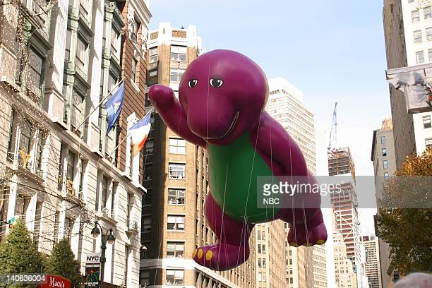 S 76TH THANKSGIVING DAY PARADE Aired Pictured Barney the Dinosaur balloon at the 2002 Macy's Thanksgiving Day Parade on November 28 2002 NBC Photo...