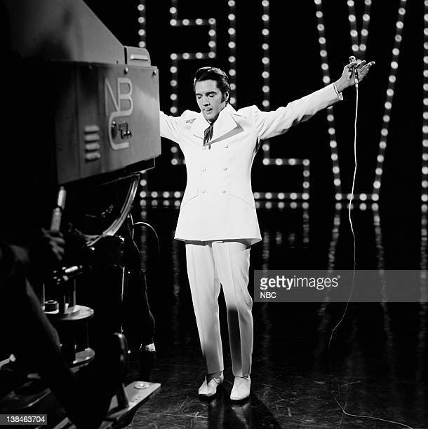 '68 COMEBACK SPECIAL Aired 12/3/68 Pictured Elvis Presley during a performance of 'If I Can Dream' at NBC Studios in Burbank CA