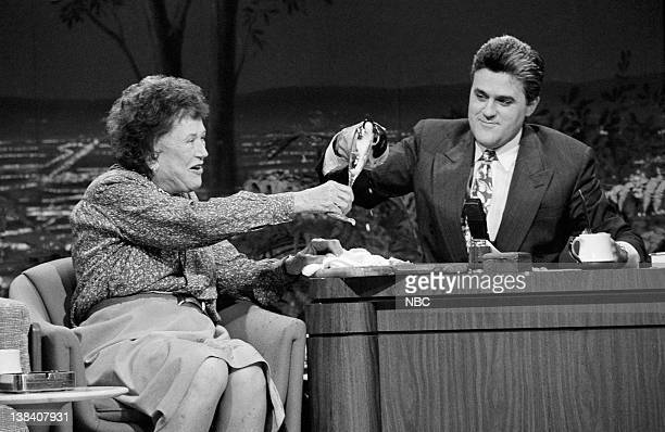 Author and cook Julia Child during an interview with guest host Jay Leno on June 18 1990