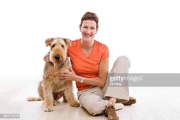 Airedale et propriétaire de chien