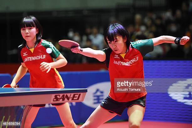 Airi Abe and Mizuki Morizono of Japan compete in the Women's doubles final match against Sayaka Hirano and Kasumi Ishikawa of Japan during day six of...